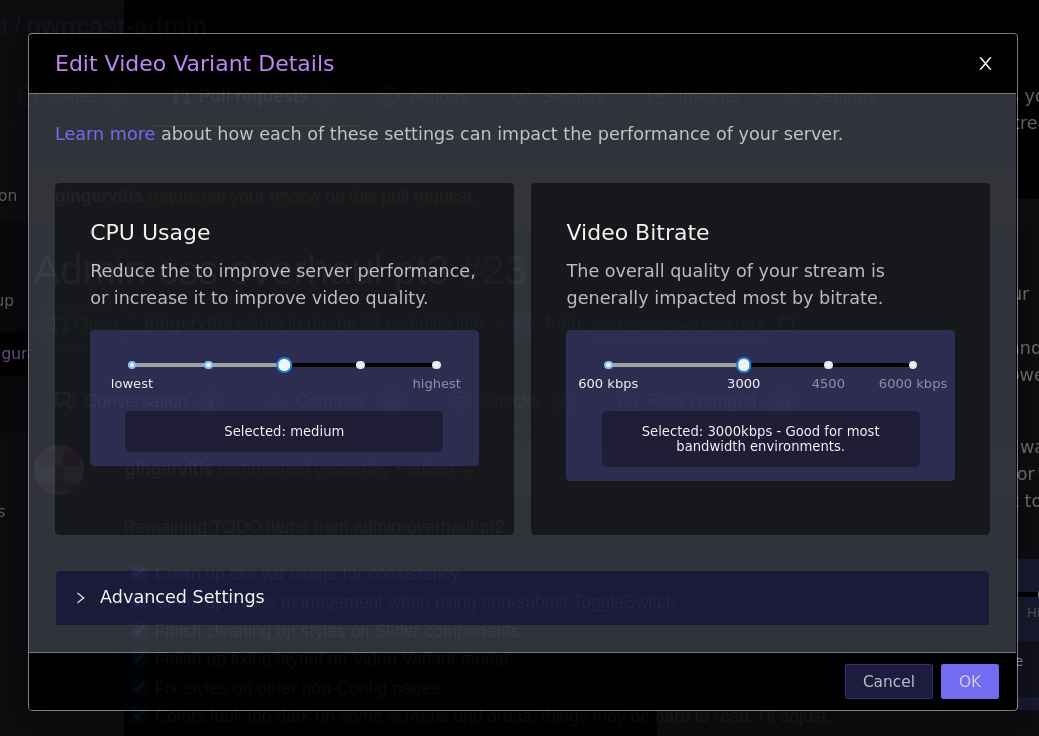 Owncast video settings